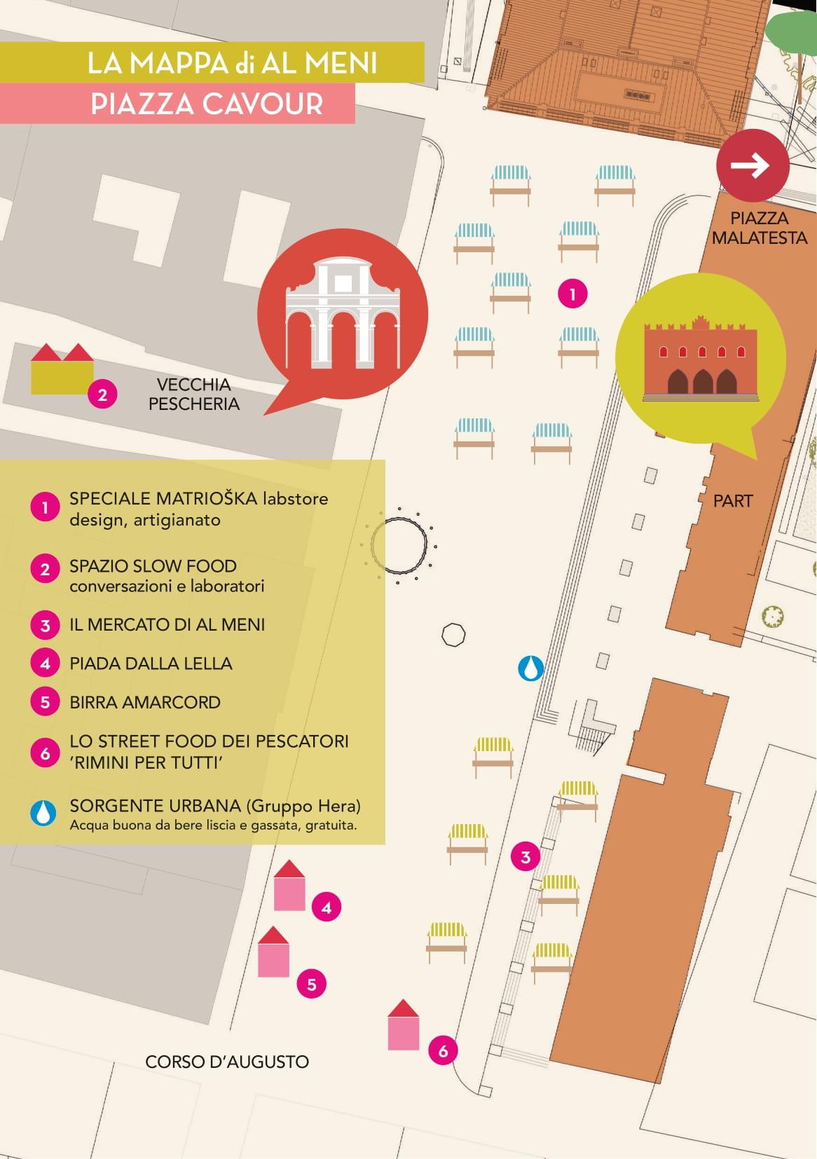 A Mèni 2021 / mappa piazza Cavour / Rimini